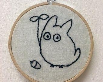 Chibi Totoro, My Neighbor Totoro Embroidery Hoop Art