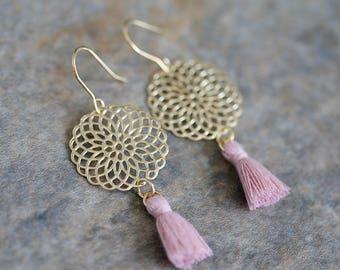 Gold Flower Link and Tassel Dangle Earrings, Flat, Light Weight and Boho Chic Dangle Earrings