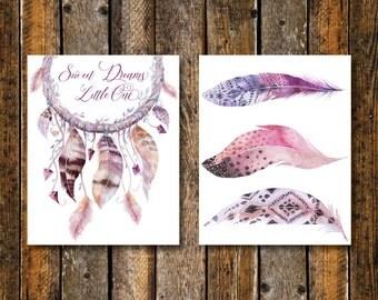 Boho Nursery Wall Art, Dreamcatcher Sweet Dream Little One Print or Printable, Pink Boho Watercolor Feather Print or Printable, Pink Nursery