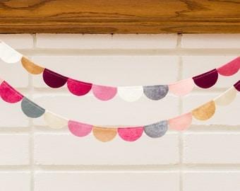rosebud (scallop) -- felt garland // pink rose burgundy taupe cream gray, scallop garland, girl nursery, birthday party, baby shower decor