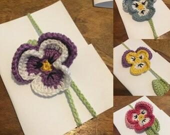 Pansy crochet bookmark / brooch / hair clip