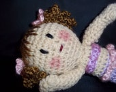 Crocheted Small Mermaid Doll -Brown - Lavender