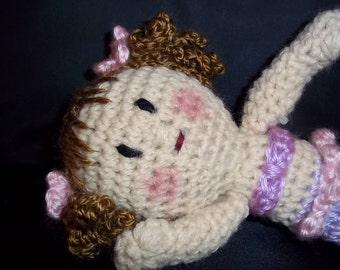 Crocheted Small Mermaid Doll -Brown - Lavender