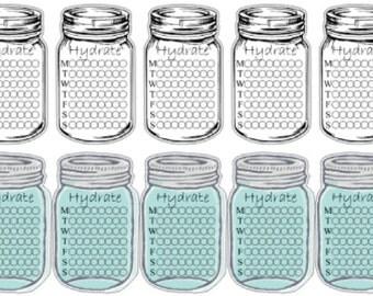 Hydrate Mason Jars   Reminder   Water Tracker   Mason Jars   Planner Stickers   Matte   Glossy