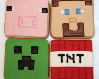 """1 Dozen Decorative 3.5"""" Minecraft Cookies"""