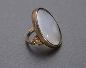 10K white agate ring size 3.25