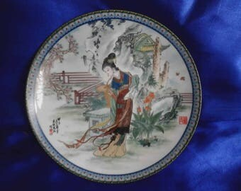 Chinese Imperial Jingdezhen Porcelain Limited Edition Collectors Plate 7 Tai-yu, meaning Blue-black Jade  Painted by Zhao HuiMin
