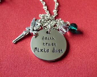 "Disney Inspired, Tinkerbell - ""Faith, Trust, Pixie Dust"" - Necklace"