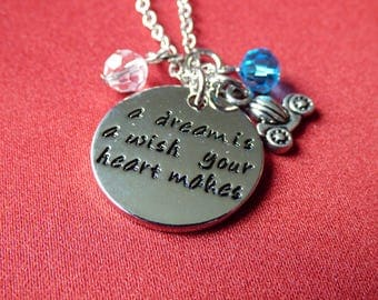 """Disney Inspired, Cinderella - """"A Dream is a wish your heart makes"""" - Necklace"""