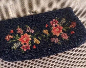 Vintage beaded and embroidered clutch purse, beaded purse, embroidered purse, vintage beaded purse, evening handbag, beaded evening bag