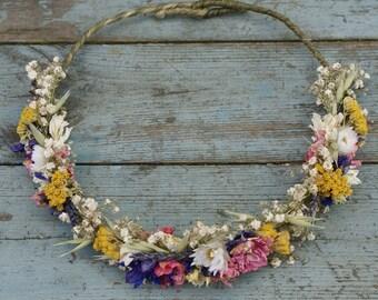Festival Meadow Dried Flower Half Hair Crown