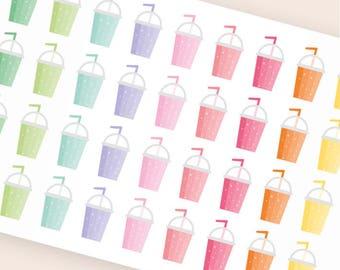 36 smoothie stickers, cocktail planner stickers, summer bar, healthy stickers, drink sticker, summer sticker, beverage shaker stickers