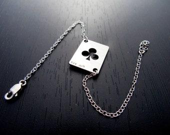 Club bracelet |Poker card bracelet |Poker gift |Poker charm |Lucky charm |Poker bracelet |Poker jewelry |Playing card suit bracelet