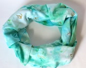 Cotton scarf, square, hand dyed, hand painted, blue, gold, aqua