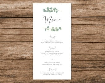 Eucalyptus Wedding Menu, Eucalyptus Branch Wedding Menu, Greenery Wedding Menu