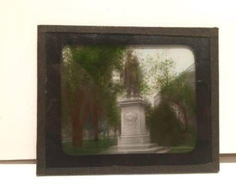 Magic Lantern Glass Slide Historic Statue in Park
