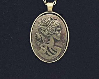 Aged Brass Lolita Skeleton Cameo Necklace