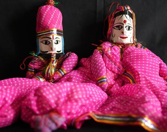 Rajasthani Puppet/Doll (pair - pink)