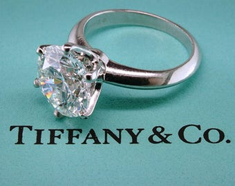 Tiffany & Co. GIA Double Certified 4.39ct H-VS1 Diamond Solitaire Platinum Engagement Ring