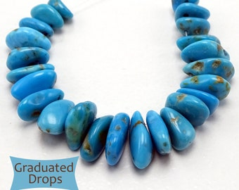 Graduated Genuine Arizona Turquoise Drops, End Drilled--24 Pcs | CD-M300C-1