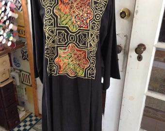70's black cotton/rayon caftan with gold embroidery