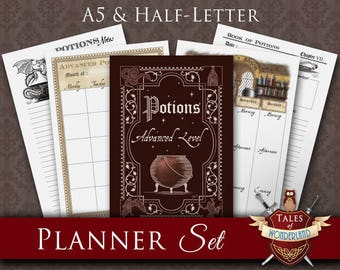 Printable Planner Set, Planner Kit | POTIONS | A5 Filofax, Half-Letter organizer | Monthly, Weekly, Daily Planners, Divider & Notes