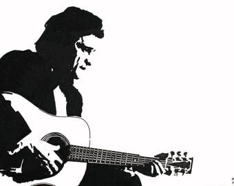 Johnny Cash hand-drawn drawing / painting