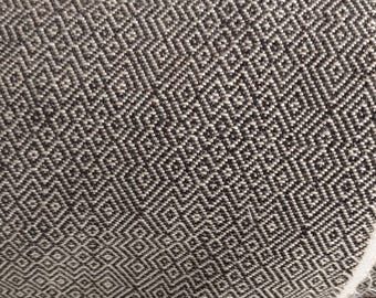 "Chenille  Fabric, stripe, Home Decor Upholstery ,58"" wide, sold by the yard, Black/natural/Meander, geometric parents"