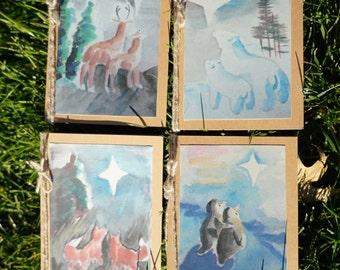 Bethlehem: Four Animal Christmas Cards, watercolor Christmas cards, recycled Christmas cards