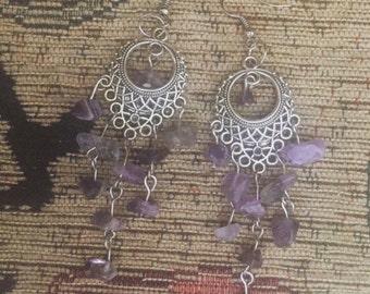 Amethyst quartz crystal chip silver chandelier dangly earrings