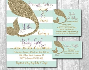 Mermaid Baby Shower Invitation w/Matching Book Request & Diaper Raffle Insert/DIGITAL FILES/printable/wording and colors can be changed