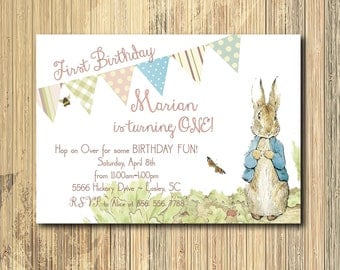 Vintage Peter Rabbit Birthday Invitation printable/DIGITAL FILE/Beatrix Potter, rabbit, Girl Peter Rabbit Invitation/wording can be changed