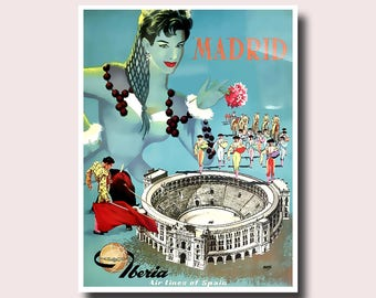 Madrid Travel Print - Vintage Spain Print Vintage Travel Poster Madrid Poster Travel Wall Art Spanish Print Travel Decor Gift Idea
