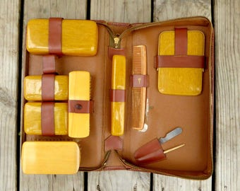 Vintage Men's Travel Set, Antique Men's Grooming Kit, Leather Travel Kit, Travel Containers, Brushes, Mirror, Nail File, Comb, Orange