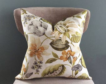Floral pillow cover, Green Orange decorative pillow, Linen pillow, Cream Grey White, pillow cover 22 x 22, Throw pillows