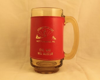 Civil War Wax Museum Vintage Amber Glass Mug with Red Leather Cozy Gold Print Gettysburg, PA