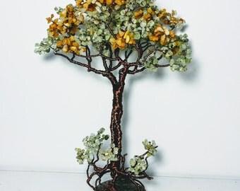 Tall wire tree, gem decoration, tree of life, office desk accessories, stone tree, large big tree, wire tree art