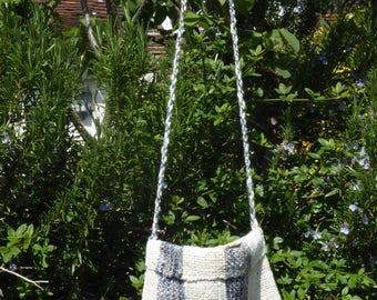 Handwoven wool and linen shoulder bag