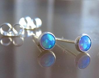 Blue Opal Stud Earrings - Opal Post Earrings - Opal Jewelry