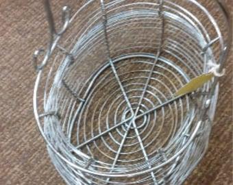 Metal egg basket, vintage egg collector basket, vintage metal basket, metal egg or bread basket, metal basket, industrial metal basket