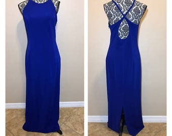 Vintage Blue Prom Dress | 90s Prom Dress | Royal Blue Prom Dress | Vintage Dress