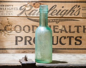 Antique Lea & Perrins Worcestershire Aqua Blue Glass Sauce Bottle Circa 1880s, Farmhouse Antiques, Rustic Home Decor, Thick Green Glass Jar