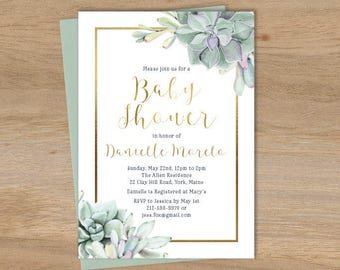 Succulent Baby Shower Invitation / Greenery and Gold Geometric / Green Cactus and Gold Calligraphy ▷ Printable File {or} Printed & Shipped