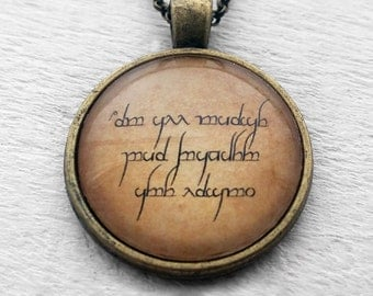 "J.R.R. Tolkien ""Not all those who wander are lost."" Pendant & Necklace - Elven Runes"
