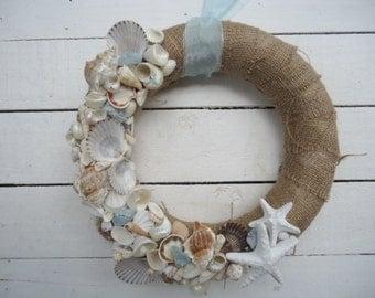Seashell Beach Wreath Blue Glass