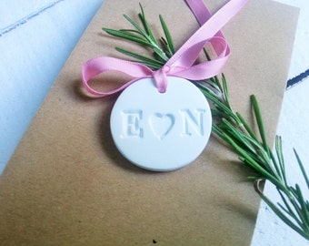 Personalized Wedding Initial Tag with Heart