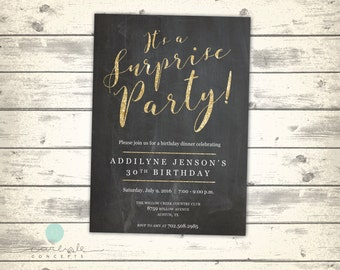 Chalkboard Gold Glitter Surprise Party Invitation | It's a Surprise Party! | Classy Gold and Black Birthday Dinner Party | Digital Printable