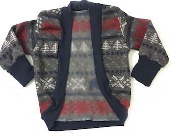 Christmas Cardigan- Slouchy Cardigan- Christmas Sweater- Bear Print cardigan- Boys Cardigan- Girls cardigan- Fairisle Sweater- Kids Sweater