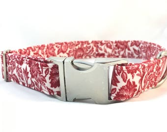 Floral Dog Collar - Red Floral Dog Collar - Summer Floral dog collar - Red dog collar - Dog Collar Floral - Modern Dog Collar - Girl Collar
