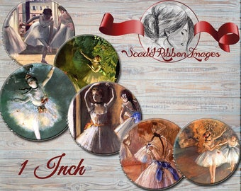 Degas Ballerina Art images of 1 inch round circles- gift tags, cupcake toppers, pendants, charms Set of 15 600dpi digital images